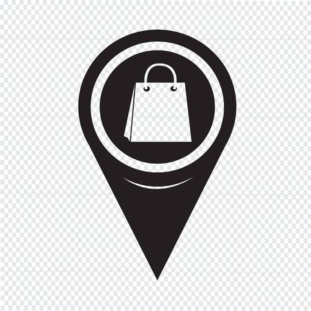 point of sale: Map Pin Pointer Sale shopping bag icon