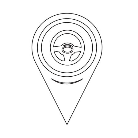 gps device: Map Pin Pointer cars steering wheel icon Illustration