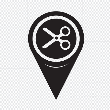 penetrated: Map Pin Pointer Cut, scissors icon