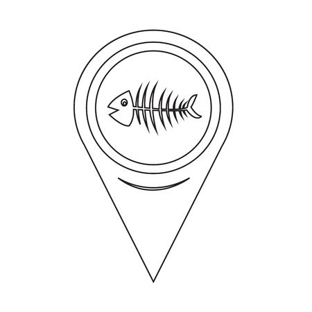 skeleton fish: Map Pointer Fish skeleton Illustration