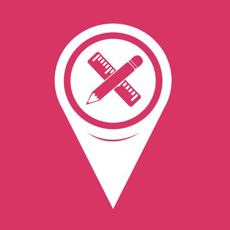 map pencil: Map Pointer Pencil with ruler icon Illustration