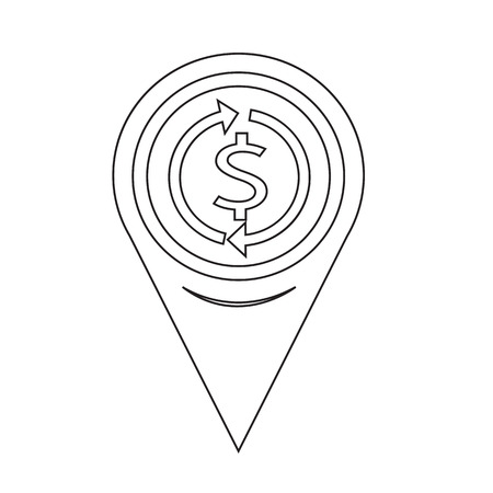 refresh rate: Map Pin Pointer Money dollar sign icon Illustration