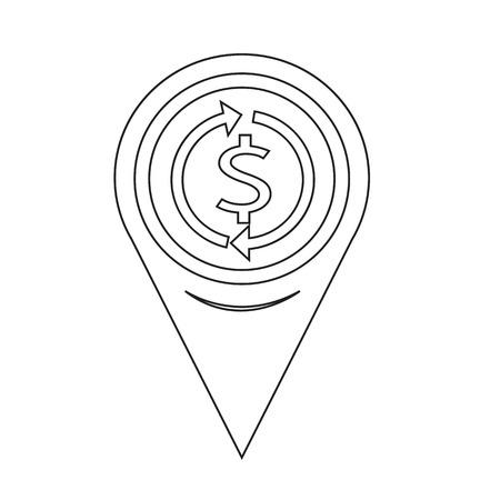interest: Map Pin Pointer Money dollar sign icon Illustration