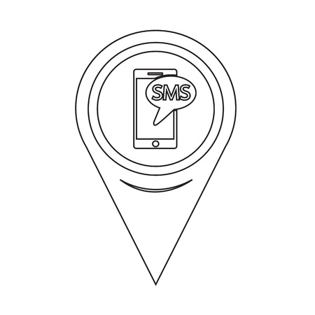 sms: Map Pointer sms icon Illustration