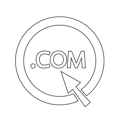 dot com: Domain dot COM sign icon Illustration