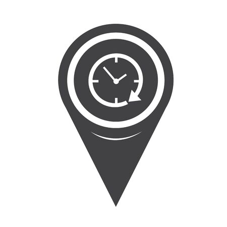 24 hour: Map Pin Pointer 24 hour clock Icon Illustration