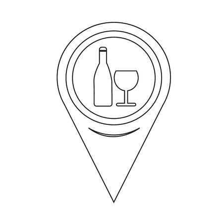 map wine: Map Pin Pointer Wine glass with bottle icon Illustration