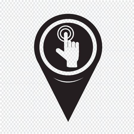 click the icon: Map Pin Pointer hand click icon