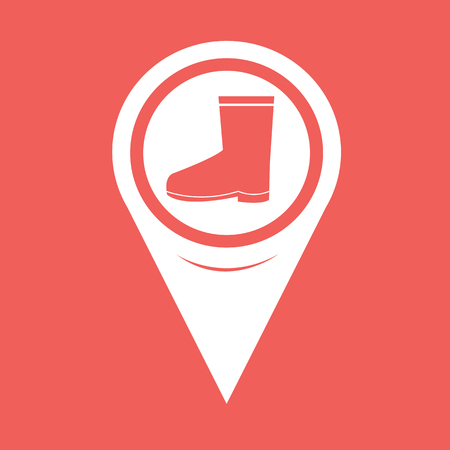 garment label: Map Pin Pointer Boot icon Illustration