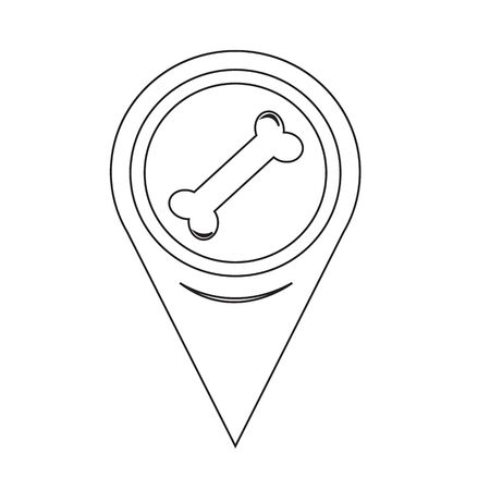 pointer dog: Map Pin Pointer Dog Bone icon Illustration