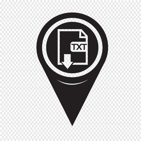 txt: Map Pin Pointer File type TXT icon Illustration