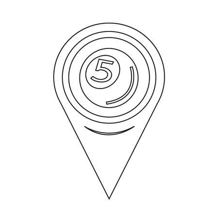 pool bola: Icono de la pelota piscina Pin de la correspondencia del indicador