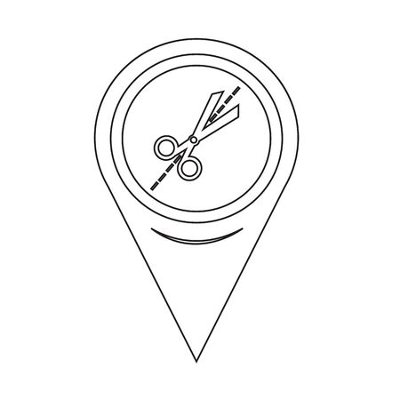 map pin: Map Pin Pointer Scissors icon