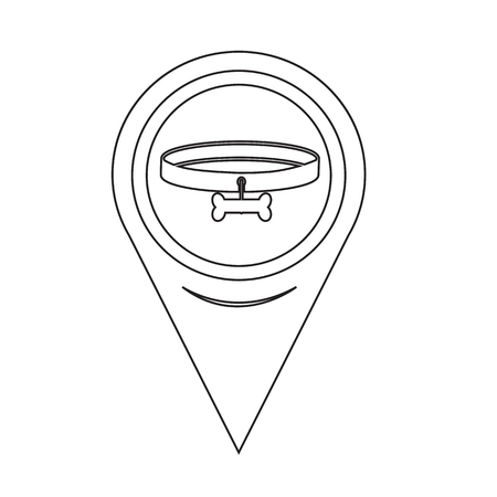pointer dog: Map Pin Pointer Dog Collar Icon Illustration