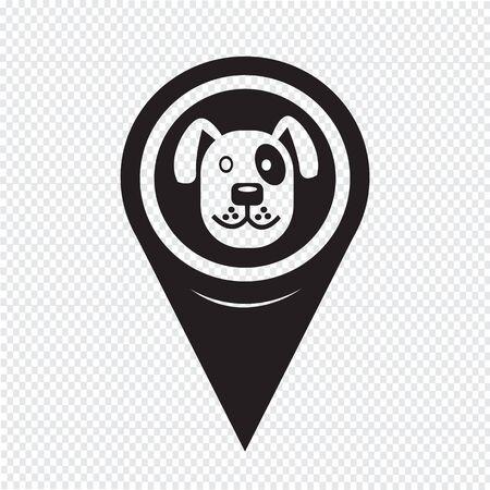 Kaart Pin aanwijzer hond pictogram