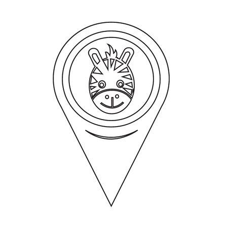 camelopardalis: Map Pin Pointer Giraffe Face Icon