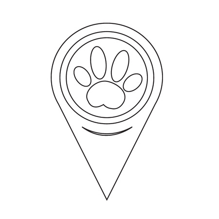pointer dog: Map Pin Pointer Dog paw Icon Illustration