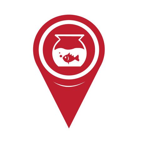 fish bowl: Map Pin Pointer Fish Bowl Icon Illustration