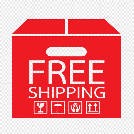 ship parcel: Free Shipping Box icon Illustration symbol design