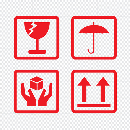 frágil icono del diseño del símbolo ilustración