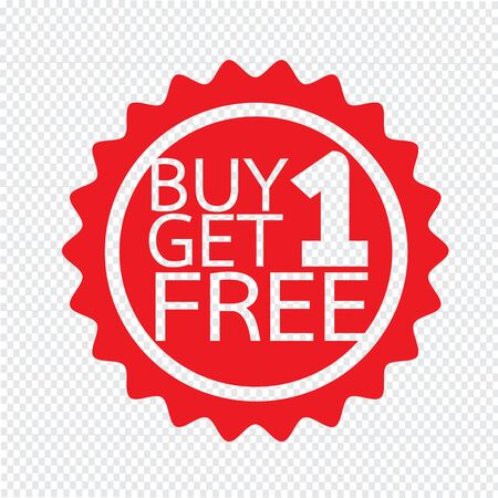get one: Buy one get one free Icon symbol Illustration design