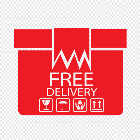 distributing: Free delivery Box icon Illustration symbol design