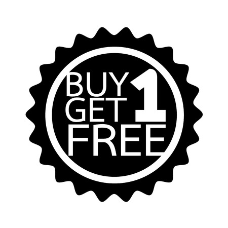 buy one: Buy one get one free Icon symbol Illustration design