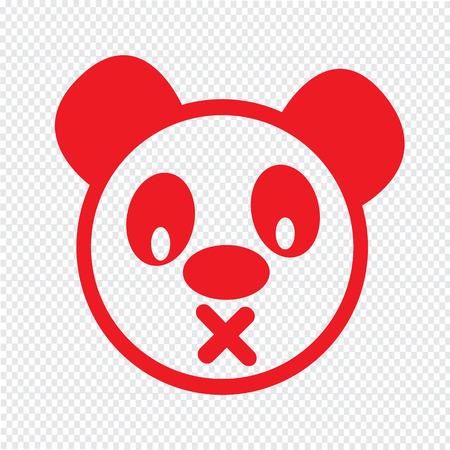 emotion: Cute panda emotion Icon Illustration sign design