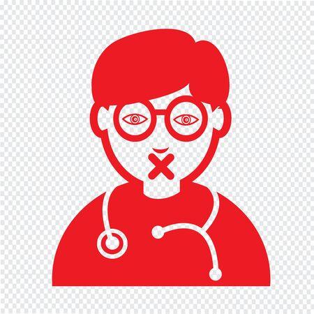 emotion: Doctor Face emotion Icon Illustration sign design
