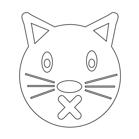 pussycat: Cat Face emotion Icon Illustration sign design