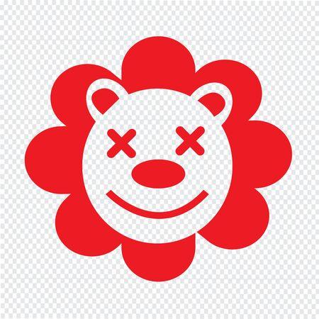 emotion: Cute Lion emotion Icon Illustration sign design