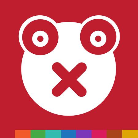 nocturnal animal: Frog emotion Icon Illustration sign design