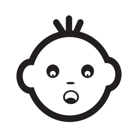 innocent girl: Baby Face Emotion Icon Illustration symbol design