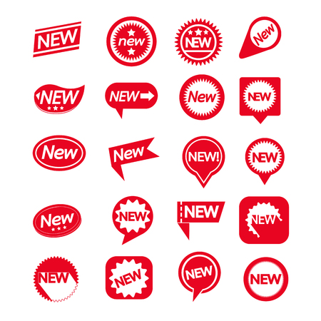 Set di etichette nuova icona per il sito web e la comunicazione