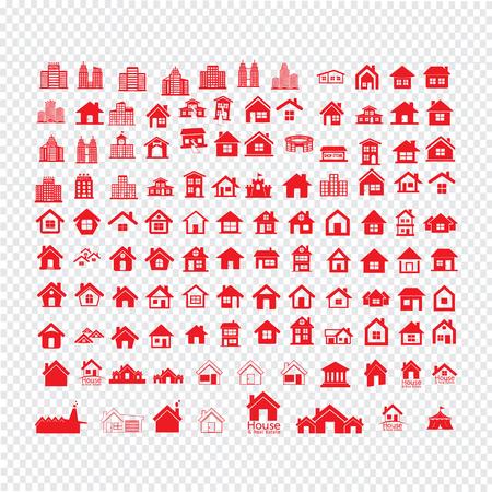 habitation: Building Real estate Home icons set Illustration design