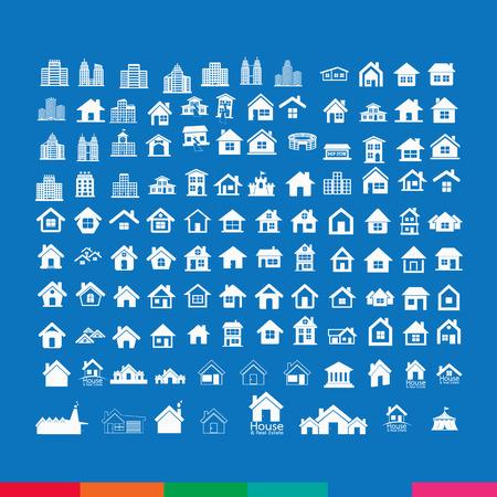 apartment buildings: Building Real estate Home icons set Illustration design