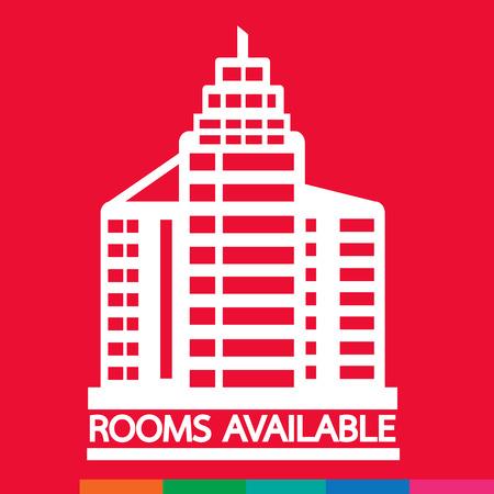 accomodation: Hotel Rooms Available icon Illustration design Illustration