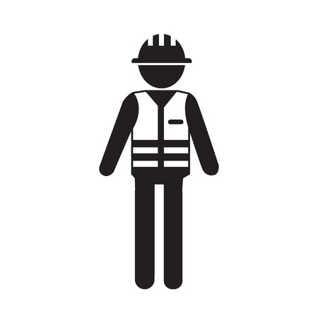 Construction Worker People Icon Illustration design