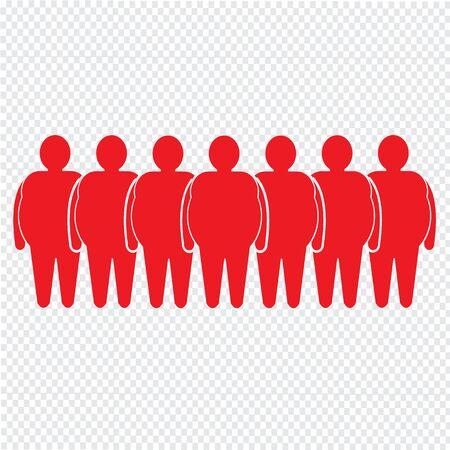 obeseness: Fat People Icon Illustration design Illustration
