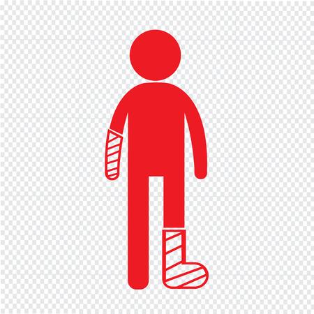 Ludzie złamaną rękę i nogę ikona ilustracja projekt Ilustracje wektorowe
