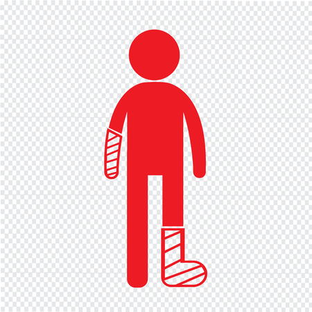 casts: People Broken Arm and Leg Icon Illustration design