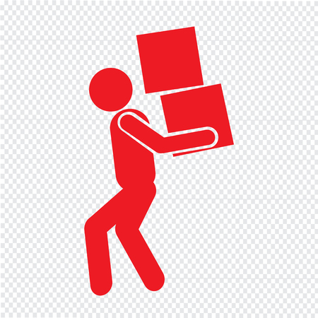 lift and carry: Man Moving Box Pictogram Icon Illustration design