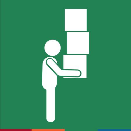 moving box: Man Moving Box Pictogram Icon Illustration design