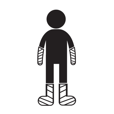 cast: People Broken Arm and Leg Icon Illustration design