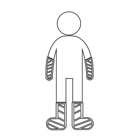 splint: People Broken Arm and Leg Icon Illustration design