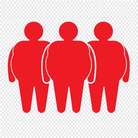 fatness: Fat People Icon Illustration design Illustration
