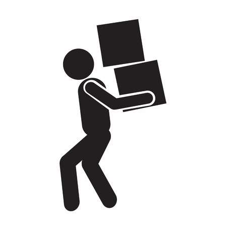rollover: Man Moving Box Pictogram Icon Illustration design