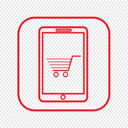 e commerce icon: Thin Line Mobile Shopping Icon