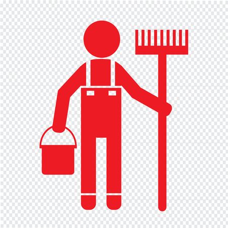 pictogram people: Cleaner Man and Cleaning Tool Equipment Illustration design