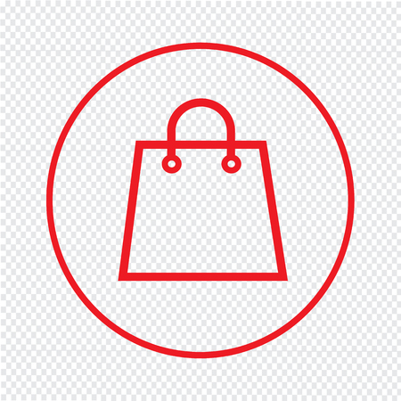 on line shopping: Thin Line Shopping Bag Icon Illustration design Illustration